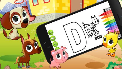 Abc 动物字母表着色页写