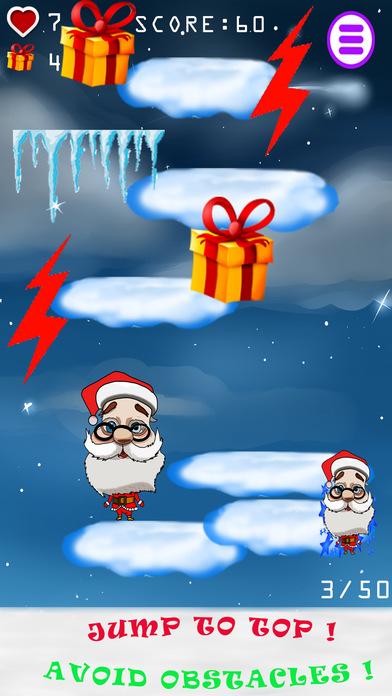圣诞老人的跳跃游戏收集好礼儿童在圣诞节