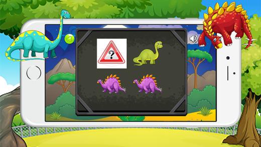 可爱的恐龙记忆(IQ)匹配游戏的孩子