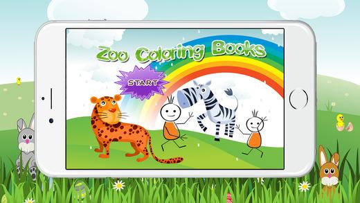 動物園裡的動物著色書為孩子們的遊戲