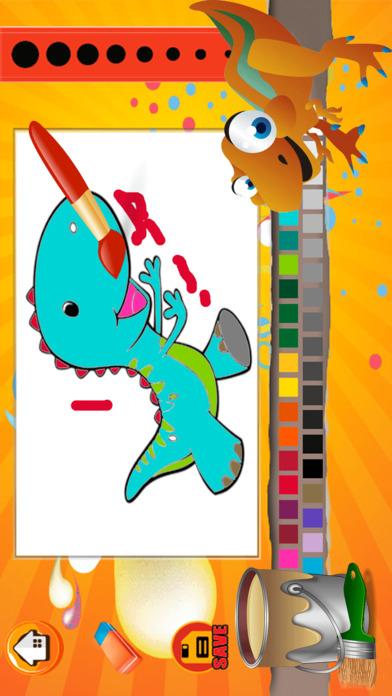 可爱的恐龙图画书 - 绘图页面和绘画游戏的男孩和女孩