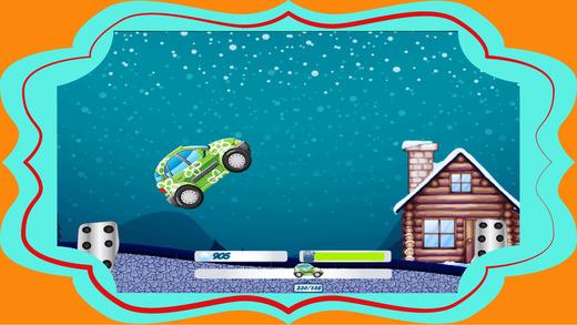 卡通车行驶在冬季