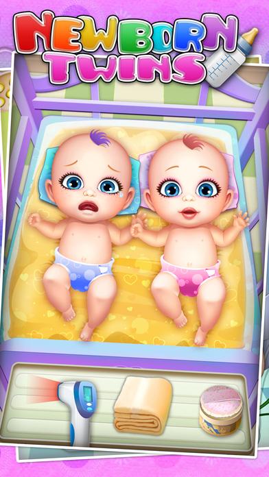 新生双胞胎婴儿护理 - 儿童游戏  新生婴儿
