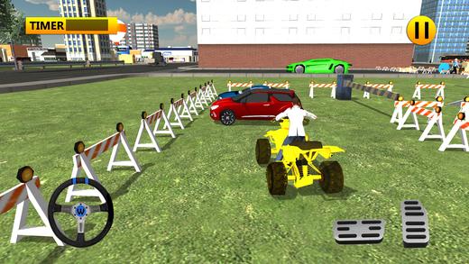四轮摩托车棘手停车和疯狂驾驶模拟器