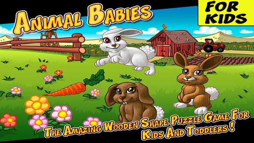 动物宝宝 - 惊人的木制形状为孩子和幼儿益智游戏 (Animal Babies - The Amazing Wooden Shape Puzzle Game For Kids And Toddlers)