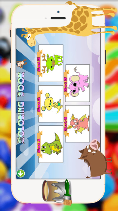小动物着色书 - 都在1可爱的动物平局,油漆和彩页游戏的孩子