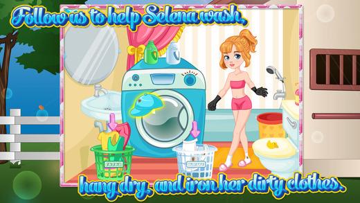 勤劳小园丁清洗衣服