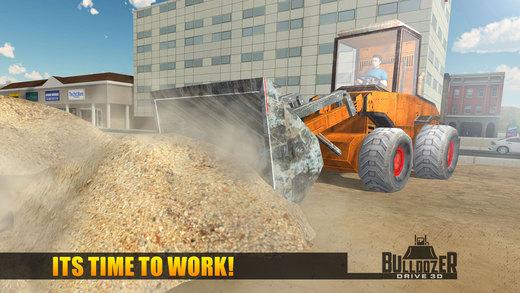 推土机驱动3D - 在一个大建筑城市