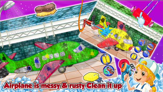 飞机洗沙龙 - 清理,设计和在这个游戏中清洗飞机装饰