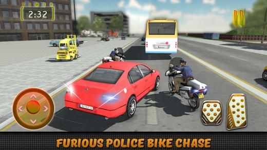 警车摩托车追逐 - 真正的警察城市驱动