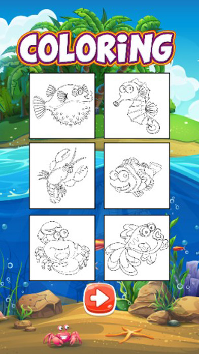 海洋动物着色游戏为孩子