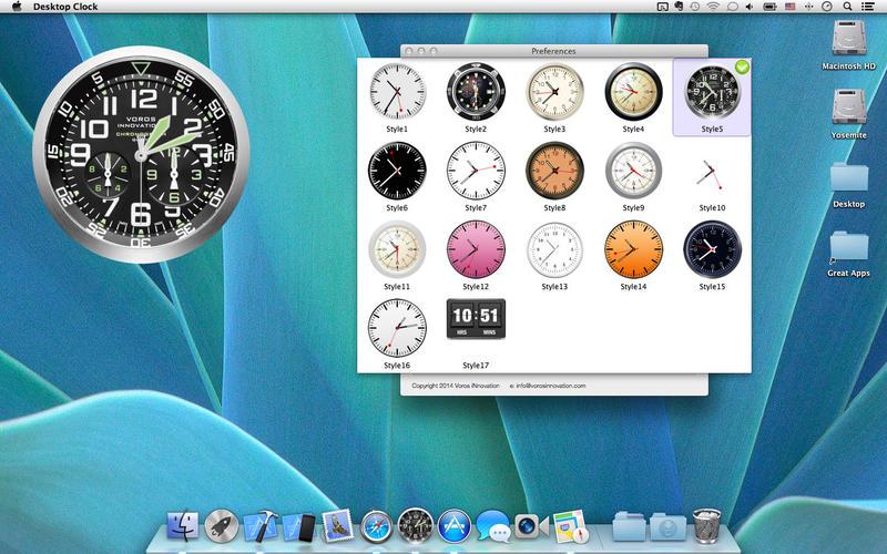 桌面时钟:动态壁纸和码头图标在桌面上 +