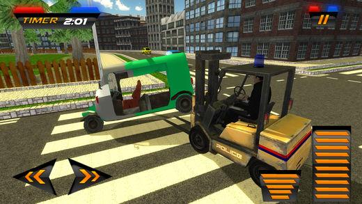 汽车升降机警察交通工具和亲运输sim