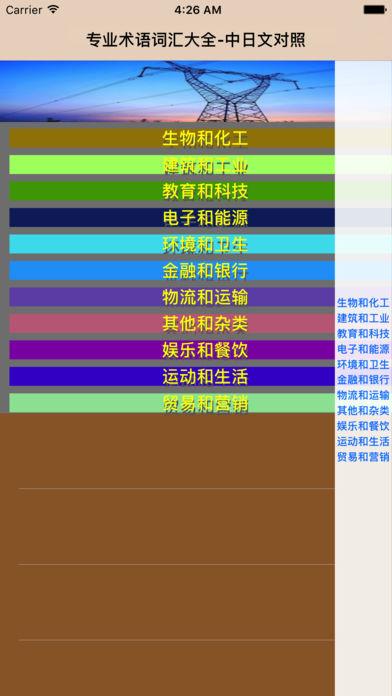 中日专业术语词汇