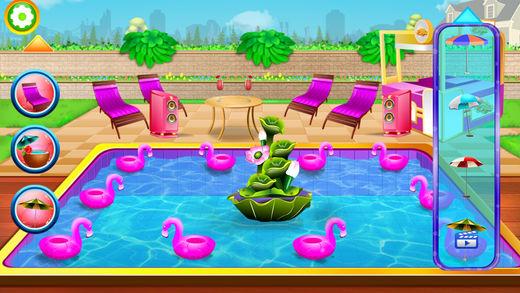 夏天女孩疯狂的泳池派对
