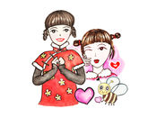 Come On Girls Chinese Ink Style Stickers(Holidays) 1