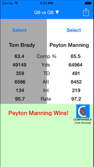 Comparable Football - Stats  Matchups