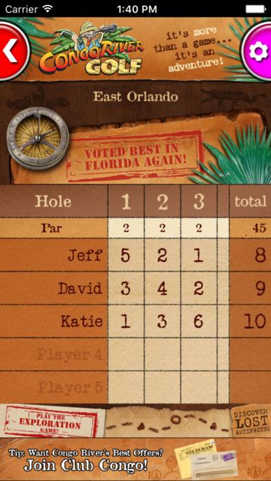 Congo River Golf Scorecard App