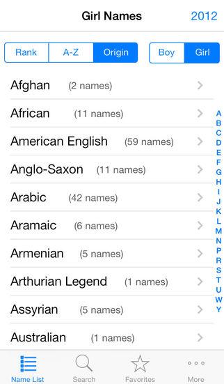 英文名 English Names