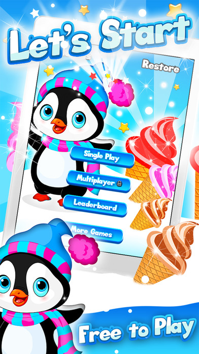 Arctic Penguin Monty in the Frozen Ice Cream Club Hunt Free Game