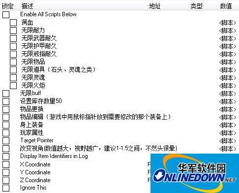 黑暗之魂2:原罪学者 中文多项修改CE脚本 v1.01