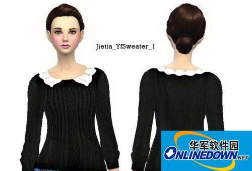 《模拟人生4》女式复古黑色毛衣 1