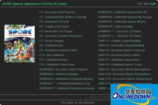 《孢子:银河冒险》26项属性修改器