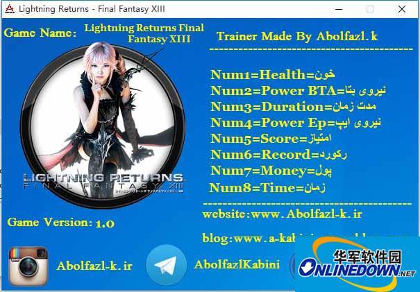 最终幻想13:雷霆归来 八项修改器Abolfazl.k版 v1.0