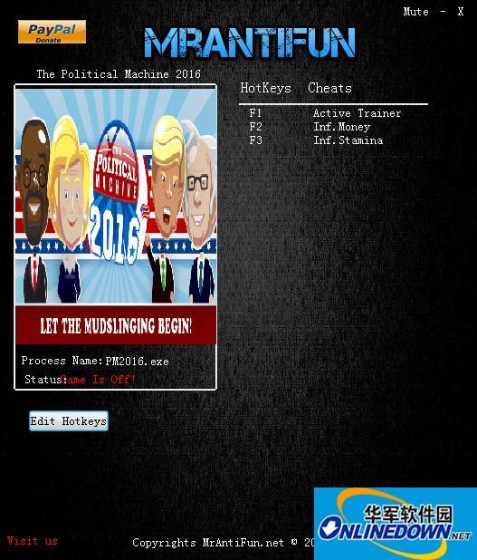政治机器2016两项修改器 0.80 MrAntiFun版