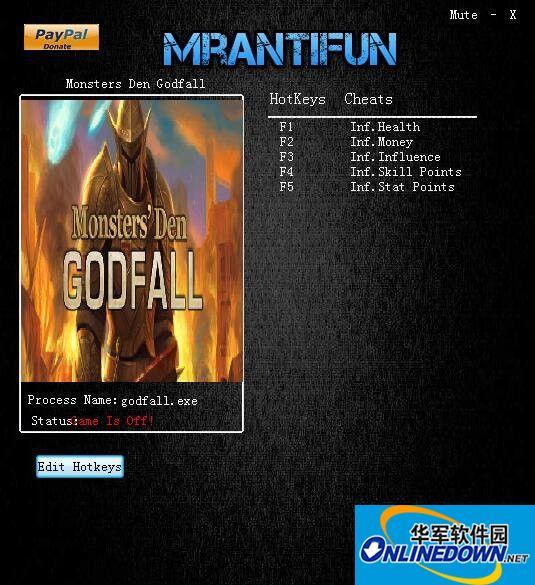 魔物巢穴:神的陨落MonstersDenGodfall五项修改器  v1.1