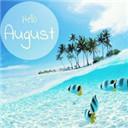 再见7月你好8月带字图片无水印