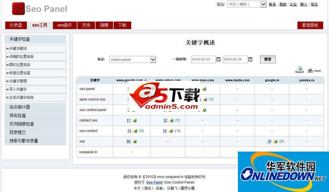 Seo Panel 免费站长工具 3.11.0