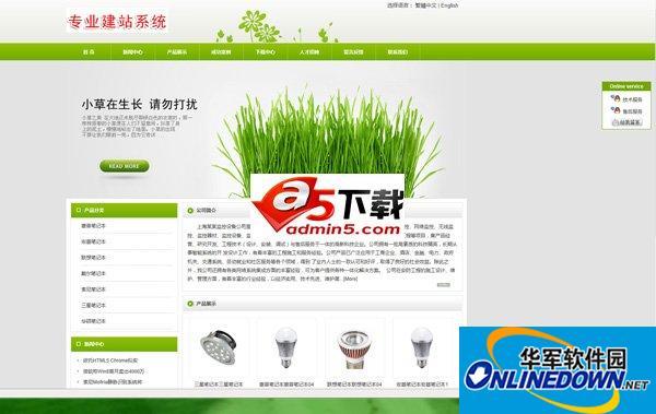 网展中英企业网站系统 绿色风格 5.1