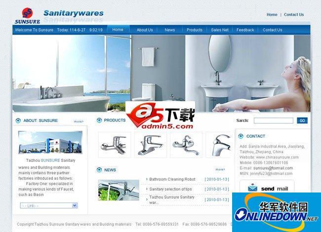英文外贸洁具公司企业网站源码