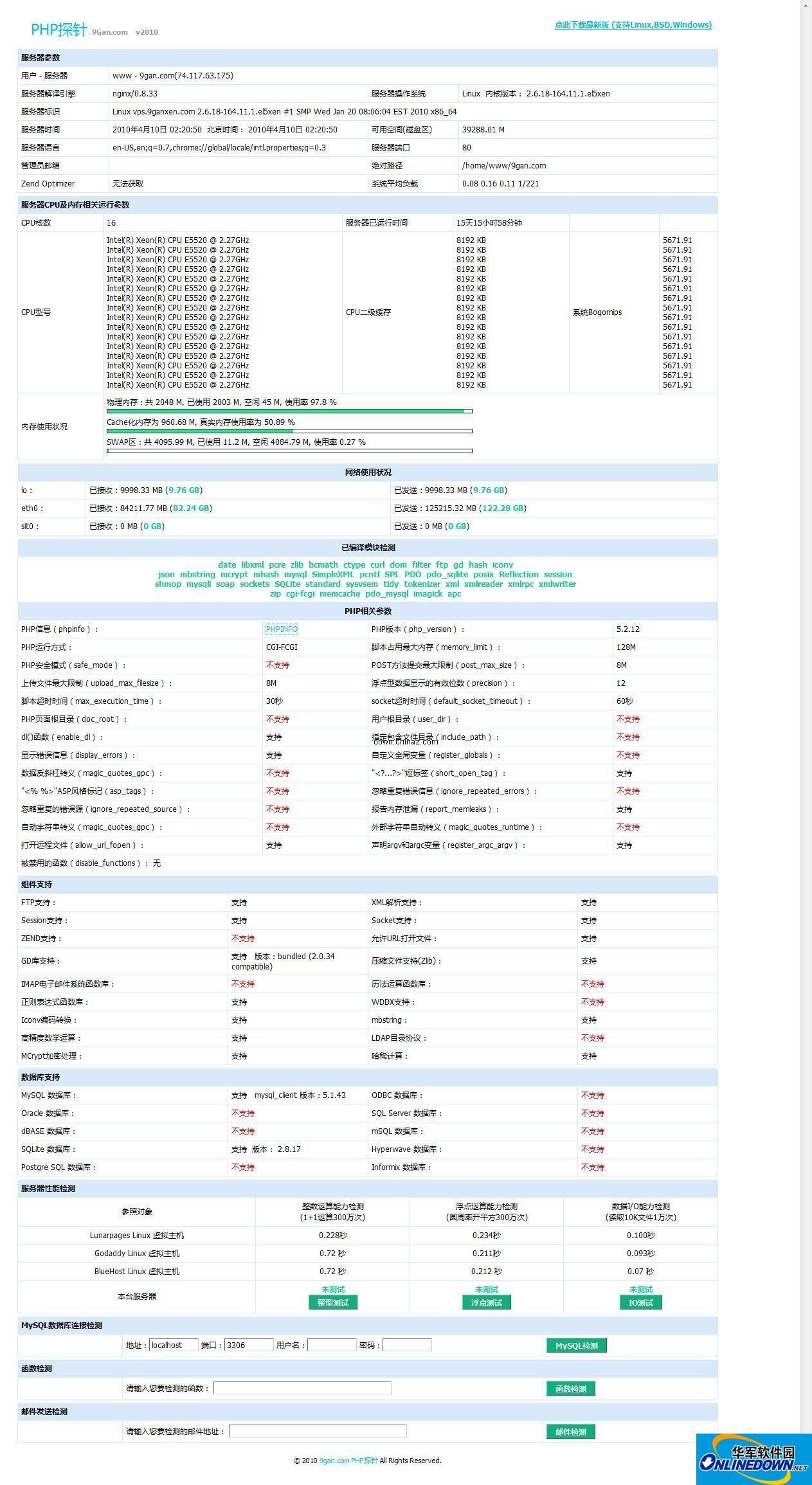 9Gan PHP探针清爽无敌增强版  2012.04.13
