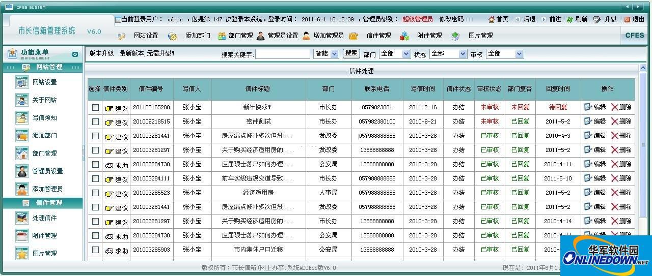 市长信箱(网上办事)系统