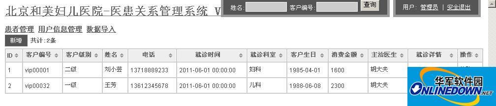 北京和美妇儿医院--医患关系管理系统  V1.0