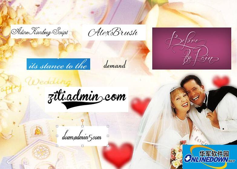 婚庆字体幸福浪漫英文字体打包