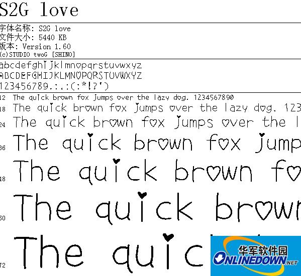 可爱的心形字体s2g love