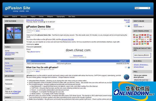 开源的php内容管理系统 glFusion PC版