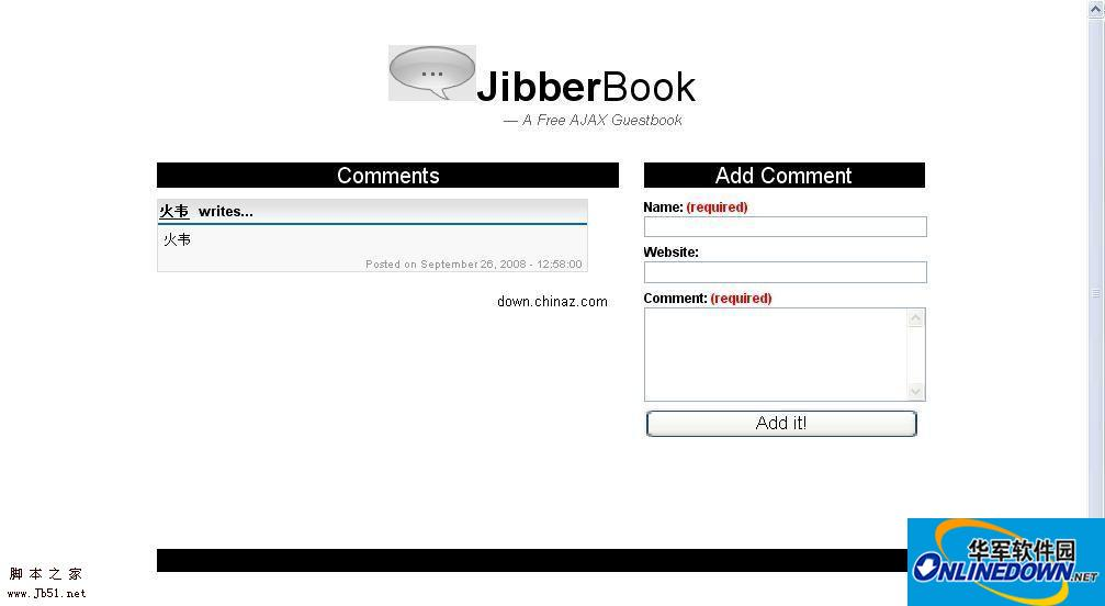 基于Ajax的php开源留言板 JibberBook PC版
