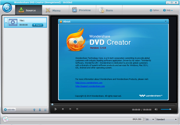 DVD光盘制作软件(Wondershare DVD Creator) v3.4.0