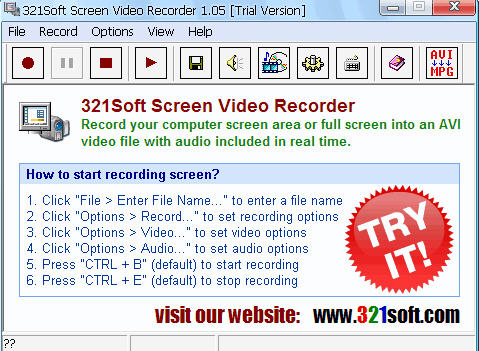 屏幕录像机(321Soft Screen Video Recorder) v1.05绿色版