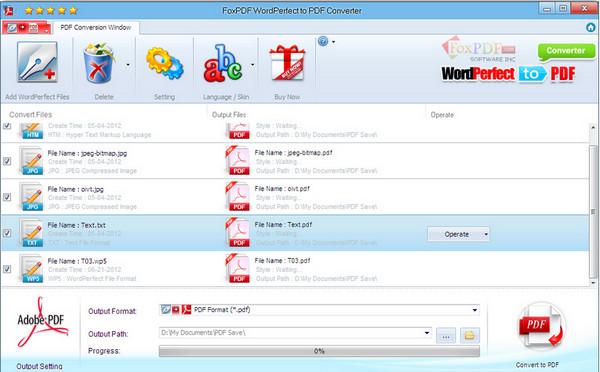 WordPerfect转换到PDF转换器