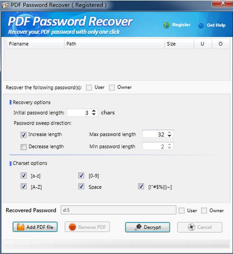 PDF密码恢复工具(PDF Password Recover)