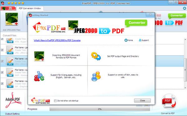JPEG2000转换到PDF转换器