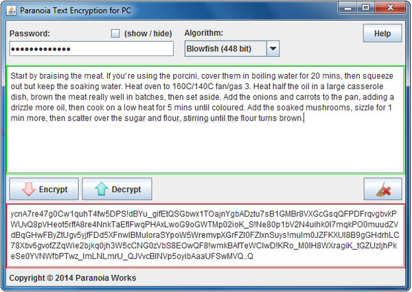 Paranoia Text Encryption for PC 10R4A