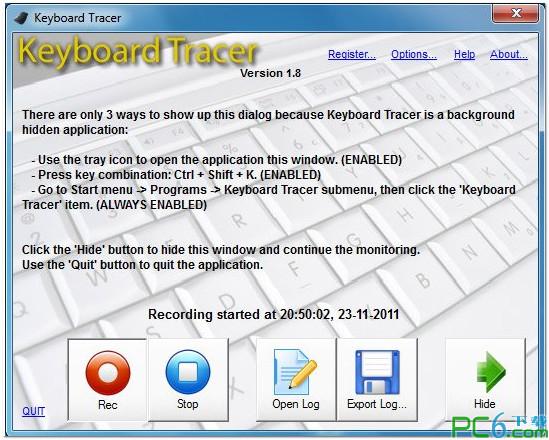 Keyboard Tracer(键盘和鼠标点击记录软件) v1.94
