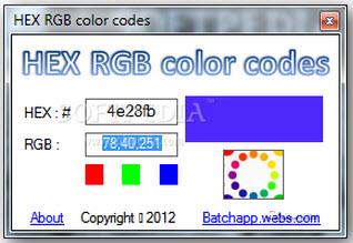 rgb颜色查询对照表(HEX RGB color codes) 2.0绿色免费版