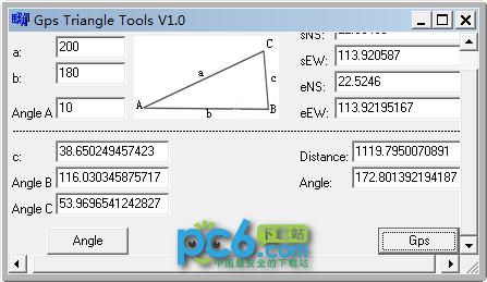 Gps距离角度、三角形边长角度计算工具(Tirangle Gps Tools)